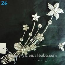 Fashion bridal flower peigne ladies en métal plaqué métal cheveux accessoires peignes