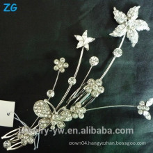 Fashion bridal flower comb ladies sliver plated metal hair accessories hair combs