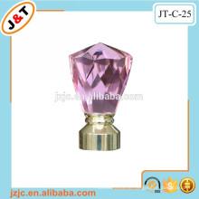 Flexible doppelte Vorhangstange mit dekorativem rosa Glas Vorhangstange Finial
