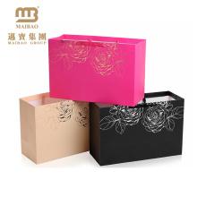 Luxusfolien-Glitter-kundenspezifischer Logo-Druck-Einkaufsrosen-Goldpapier-Geschenktasche mit Griffen