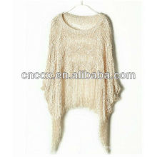 13STC5501 lady woolen pullover tassels poncho