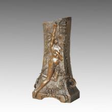 Estatua de jarrón desnudo de bronce bronce Jardiniere Escultura, G. Flamand TPE-665