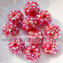 10*12MM Resin Rhinestone Chunky Beads For Girls Necklaces Silver Red AB