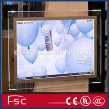 Colgante caja de luz de tipo marco de acrílico cristal cartel led