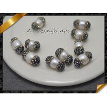 Natural perlas de perlas de concha en cristal pavimentado encantos pulseras (fp0113)