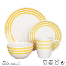 16шт Керамическая посуда с ручной росписью желтый дизайн