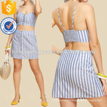 Button Up Crop Striped Top & Skirt Manufacture Wholesale Fashion Women Apparel (TA4053SS)