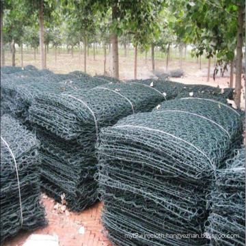 Green PVC Coated After Galvanized Hexagonal Gabion Basket