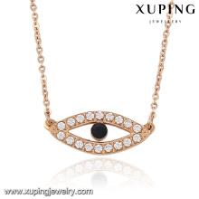 00041 Bijoux de collier pendentif oeil de zircon à la mode en or rose couleur pour femme