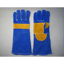 Blue Cow Split Leather Welding Work Glove (6528)