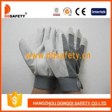 Pig Grain Leather. Grey Cotton Back Adjustable Cuff (DLP418)