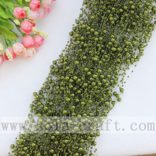 Grass-Green Color Imitation Faux Pearl Beaded Chains With 3+8MM Beads