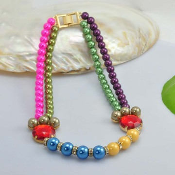 Elegant Crystal Pearl Beads Necklace Designs