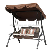 New style metal rattan patio swing 3 seat for adult cushion with canopy garden furniture