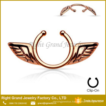 Rose Gold Plated Clip On Nipple Ring with Angel Wings Clip On Nipple Sheild