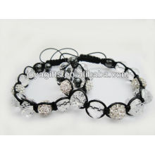 New product/shamballa ball with faceted crystal beads woven bracelet 95B0285