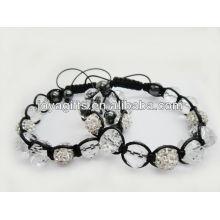 Novo produto / bola shamballa com contas de cristal facetado pulseira tecida 95B0285