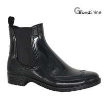 Moda Feminina Preto Cool PVC Riding Rain Boot