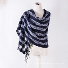 Cachemire des femmes comme l'écharpe de châle d'impression d'hiver tricoté classique de rayure (SP305)