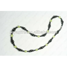 Magnetic Hematite Olive Glass beaded Necklace