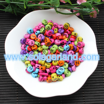 7MM Acrylic Plastic Coin Round Alphabet Letter Beads For Name Bracelet DIY