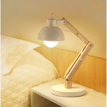 Wooden reading folding table lamp
