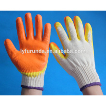 Natural rubber coated cotton gloves with double color