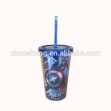 Пластиковый стакан популярных двойной стенкой ж / соломы (16 унций)