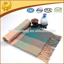 Klassische Plaid Garn gefärbt Acryl Wurf Decke Custom Mit 10cm Quaste