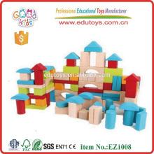 EZ1008 EN71 Aprobado 100pcs Bloques de madera impresos coloridos del juguete para los cabritos