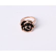 Rose Flower Fashion Jewelry Ring with Black Enamel in Rose Gold Plated Good Quality Cheap Price