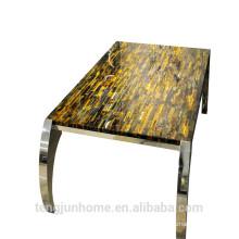 Oeil de tigre jaune CANOSA avec une longue table à thé en acier inoxydable