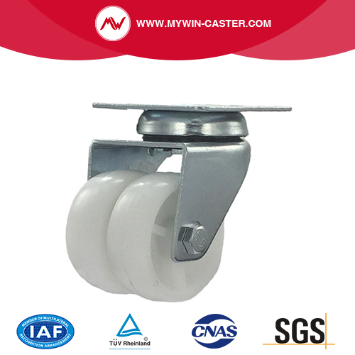 2 inch swivel twin wheel white PP industrial caster