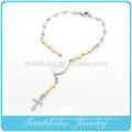 Tkb-b0086 novo item de fábrica banhado a ouro cruz polonês prata beads link religiosa virgem maria acessórios de aço inoxidável bracele