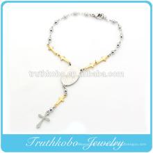 TKB-B0086 Usine Nouvel Article Plaqué Or Croix Polonaise Argent Perles Lien Religieuse Vierge Marie Accessoires En Acier Inoxydable Bracele