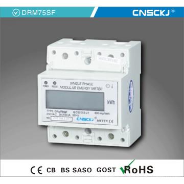 Mètre d'énergie électronique d'affichage à cristaux liquides monophasé de rail DIN multi-tarifaire / mètre d'électricité / mètre de Kwh