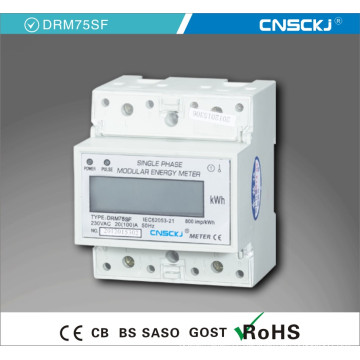 Single Phase DIN Rail Kwh Meter, LCD Display and So Output, DIN Rail Mounting, 1p