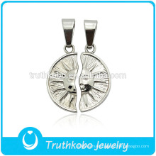 "TKB-JP0164 ""You're always my sunshine "" unique sun god couple jewelry stainless steel lovers pendant"