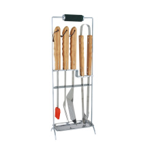 6pcs ss bbq tool set avec support de repos