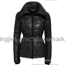 Female leather jacket warmth down coat