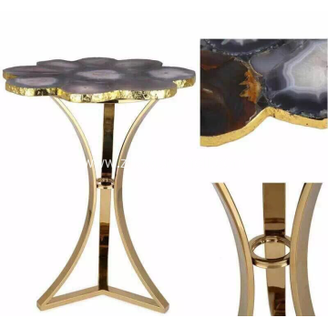 Bottom price for Semi-precious Stone Inlay Furniture CANOSA natural color agate coverd coffee table with golden stainless steel supply to Tonga Suppliers