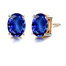 18K real Gold earring with tanzanite