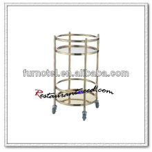 S079 Stainless Steel Service Trolley Gold-Plated Wine Service Cart