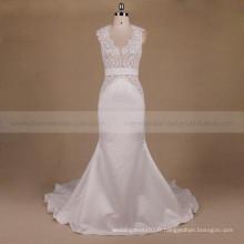 Dernier modèle audacieux large ceinture de dentelle sexy arrière sirène longue train satin robe de mariée