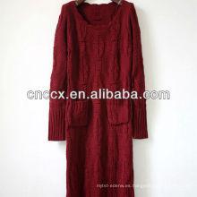 12STC0594 Vestido largo sin mangas del hombro del suéter