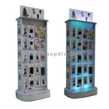 Design personalizado Fundo de madeira Gancho de metal Carregador de telefone celular Visor Acessórios para dispositivos móveis Exibição de bateria