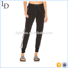 Black with side stripes jogging pants wholesale blank spandex pants