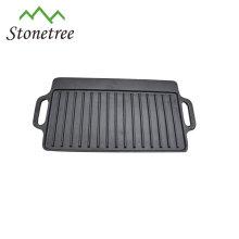 Plaque de cuisson réversible pour gril en fonte avec deux surfaces à griller