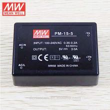 O tipo médio 15W 5V AC / DC da média a bordo de tipo tipo médico fonte da fonte de alimentação PM-15-5 encapsulou