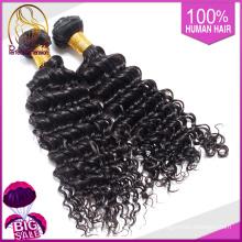 productos de belleza del trenzado de las extensiones del pelo humano, onda profunda del cuerpo onda 14 pulgadas negro